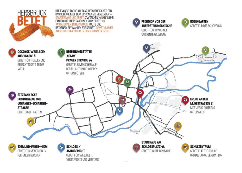 Eine Karte von Hersbruck mit den angegebenen Stationen